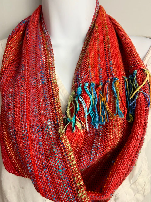Red-Multi Short Infinity Scarf