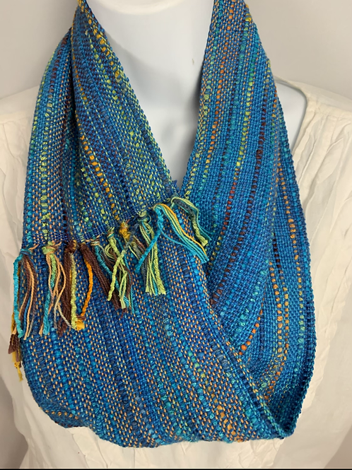 "Bright Blue ""Tropical Fish"" Short Infinity Scarf"