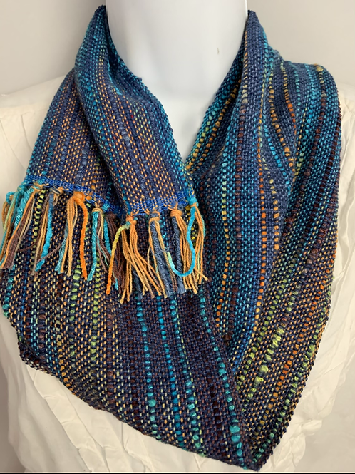 "Deep Blue ""Tropical Fish"" Short Infinity Scarf"