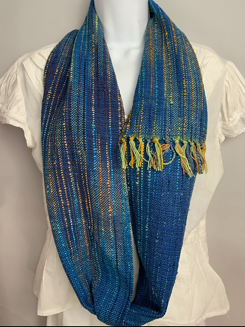 "Blue ""Tropical Fish"" Long Infinity Scarf"
