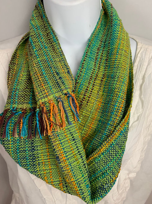 "Bright Green ""Tropical Fish"" Short Infinity Scarf"