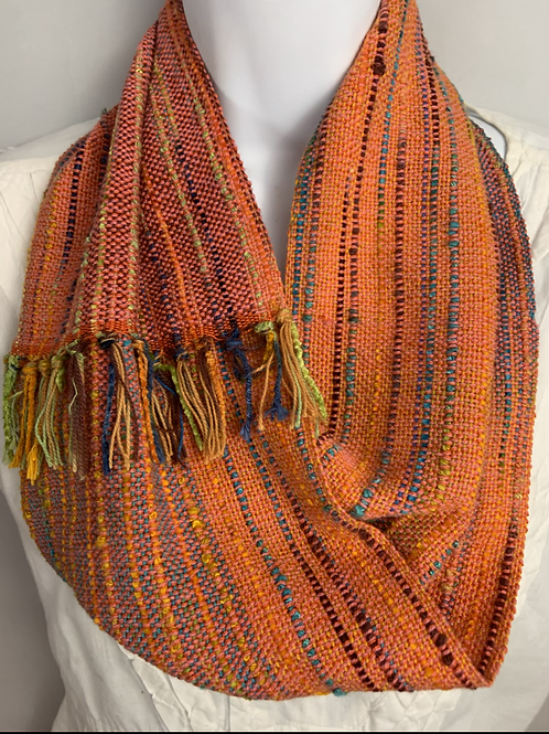 "Orange ""Tropical Fish"" Short Infinity Scarf"