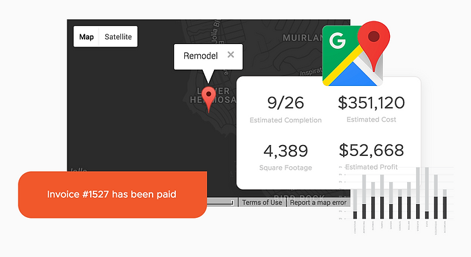 Easily track weather alerts, estimated budgets, profits, integrate Google Maps and invoices. Connect your favorite programs to Onsite with a single click.
