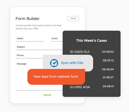 Onsite CRM offers simple form builders that make qualifying and compiling leads a snap. You can also log bills, expenses, and hours for easier invoicing. Popular one-click integrations include Clio & Needles.