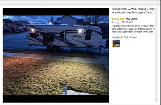 New Amazon customer feedback about LED PAR36 Flood on Toyhauler