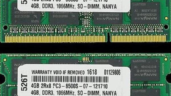 8GB DDR3 1066 MHZ PC3 8500 2X4GB SODIMM MEMORY
