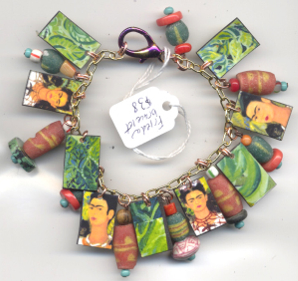 Frida Bracelet $38 - fired pieces from Frida Kahlo paintings