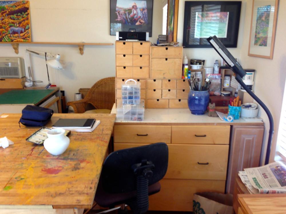 Cathy Carey's studio - watercolor area