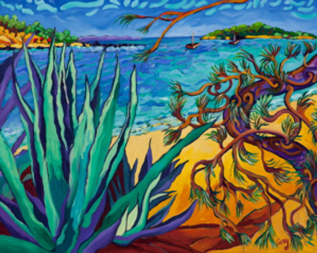Oil Painting by Cathy Carey of Agave Beach in Majorca Spain