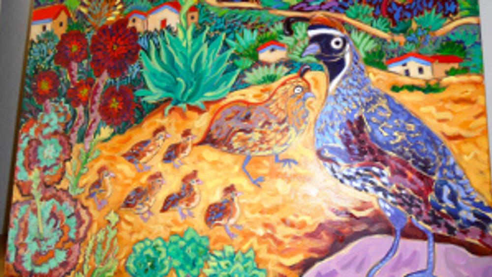 Quail Crossing by Cathy Carey ©2014 oil quail