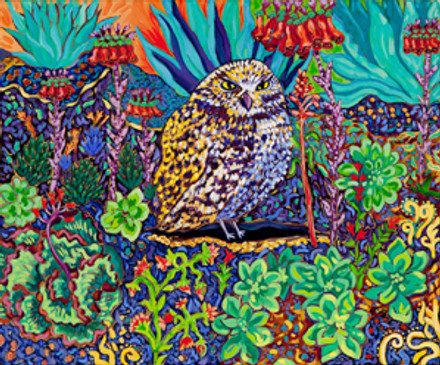 Succulent Burrowing Owl 24 x 20 oil by Cathy Carey