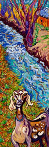 Acequia Goat by Cathy Carey ©2015 10 x 30 oil