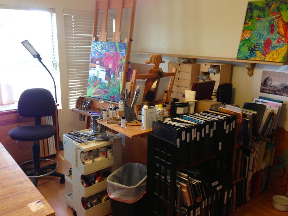 Cathy Carey's studio - oil area