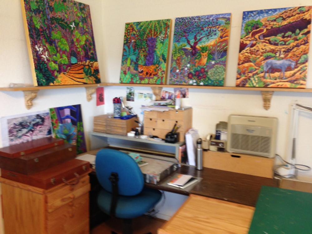 Cathy Carey's studio - pastel area