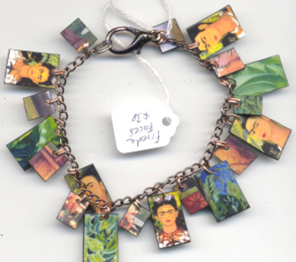 Frida Faces Bracelet $38 - fired pieces from Frida Kahlo paintings