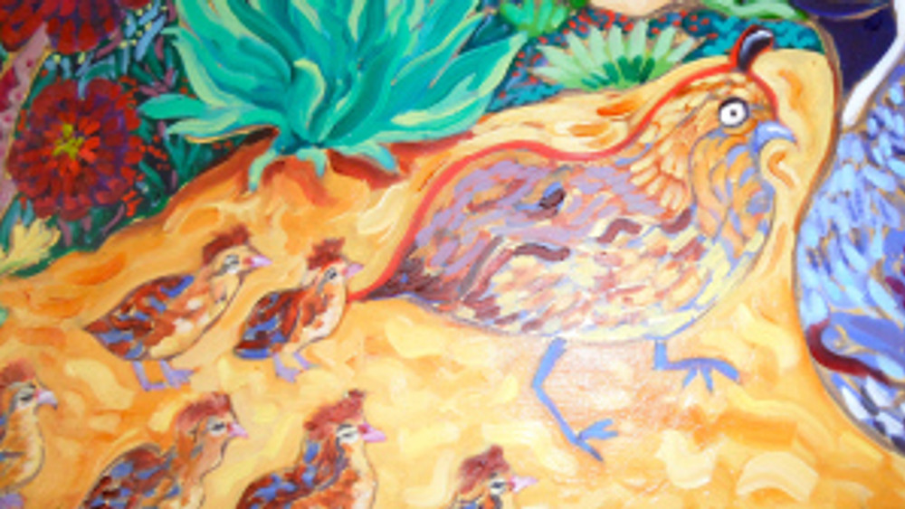 Quail Crossing by Cathy Carey ©2014 oil close up