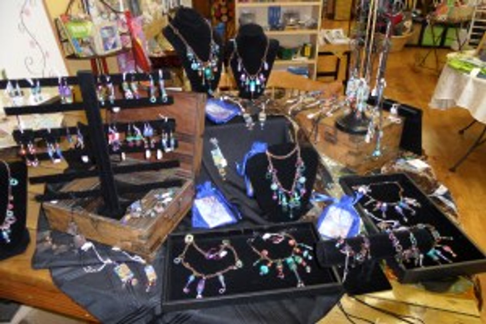 Display of Cathy Carey's Jewelry at her Art Studio Tour