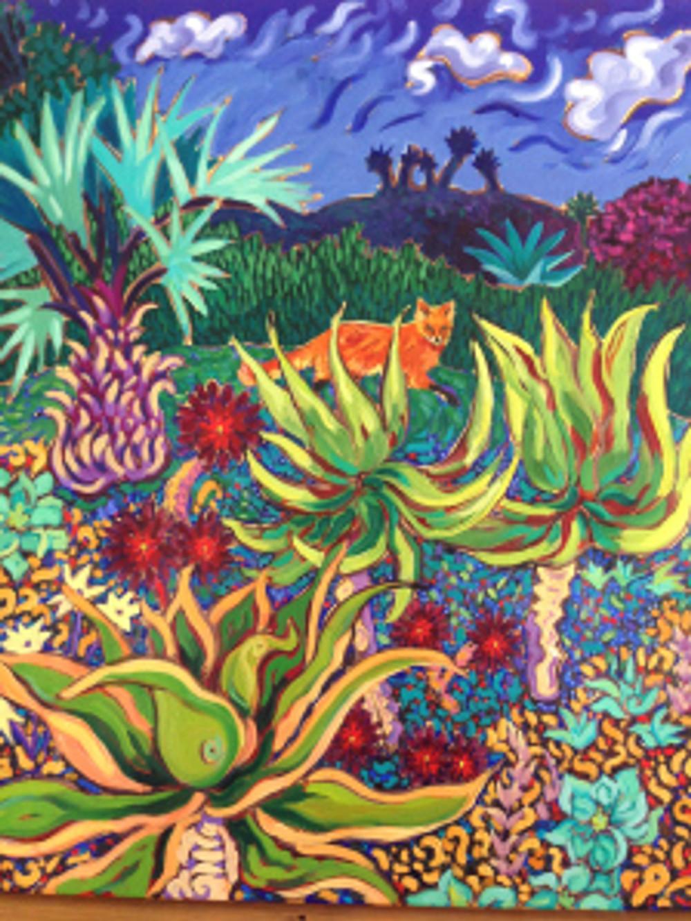 Fox in the Twilight Garden by Cathy Carey ©2014