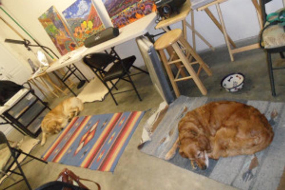 The Golden Girls in the studio