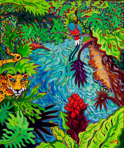 "Mayan Jungle by Cathy Carey ©2014 oil 20"" x 24'"
