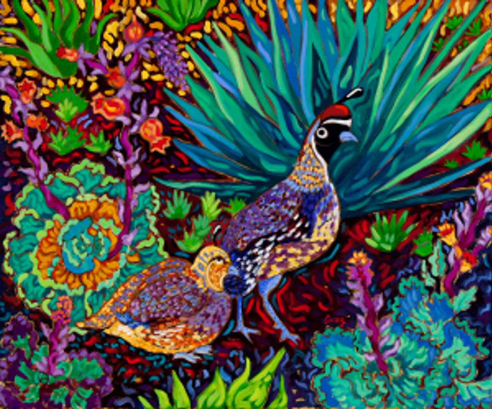 Couple of Quail 24x20 Oil Painting by Cathy Carey ©2015