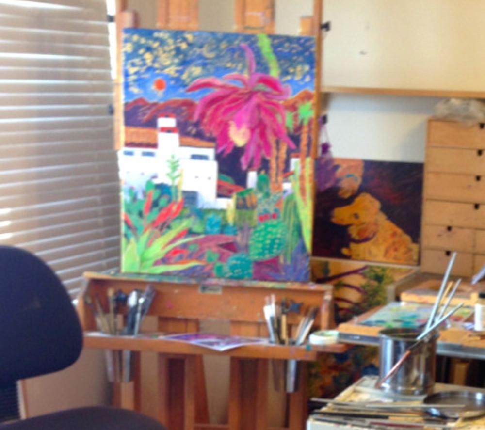 Cathy Carey's studio - easel