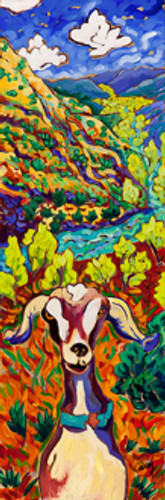 Cottonwood Goat by Cathy Carey ©2015 10 x 30 oil
