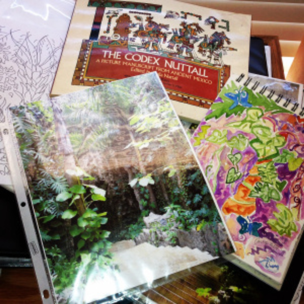 Research materials for a painting of Cancun