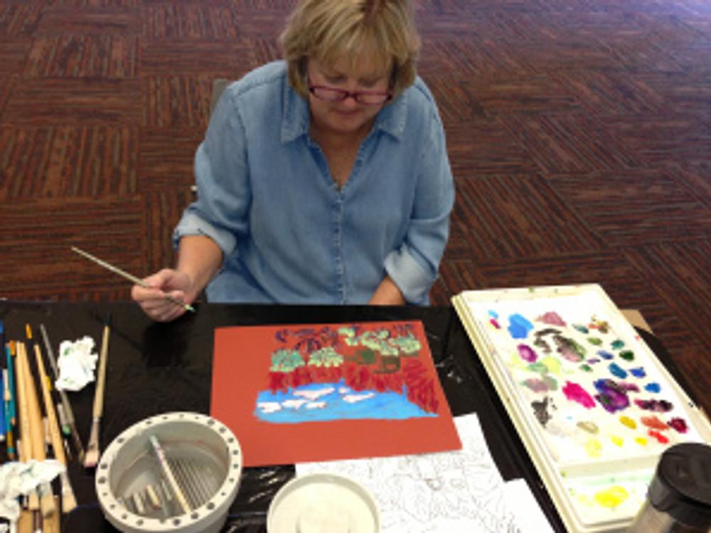 Student using Sennelier Artist Acrylics