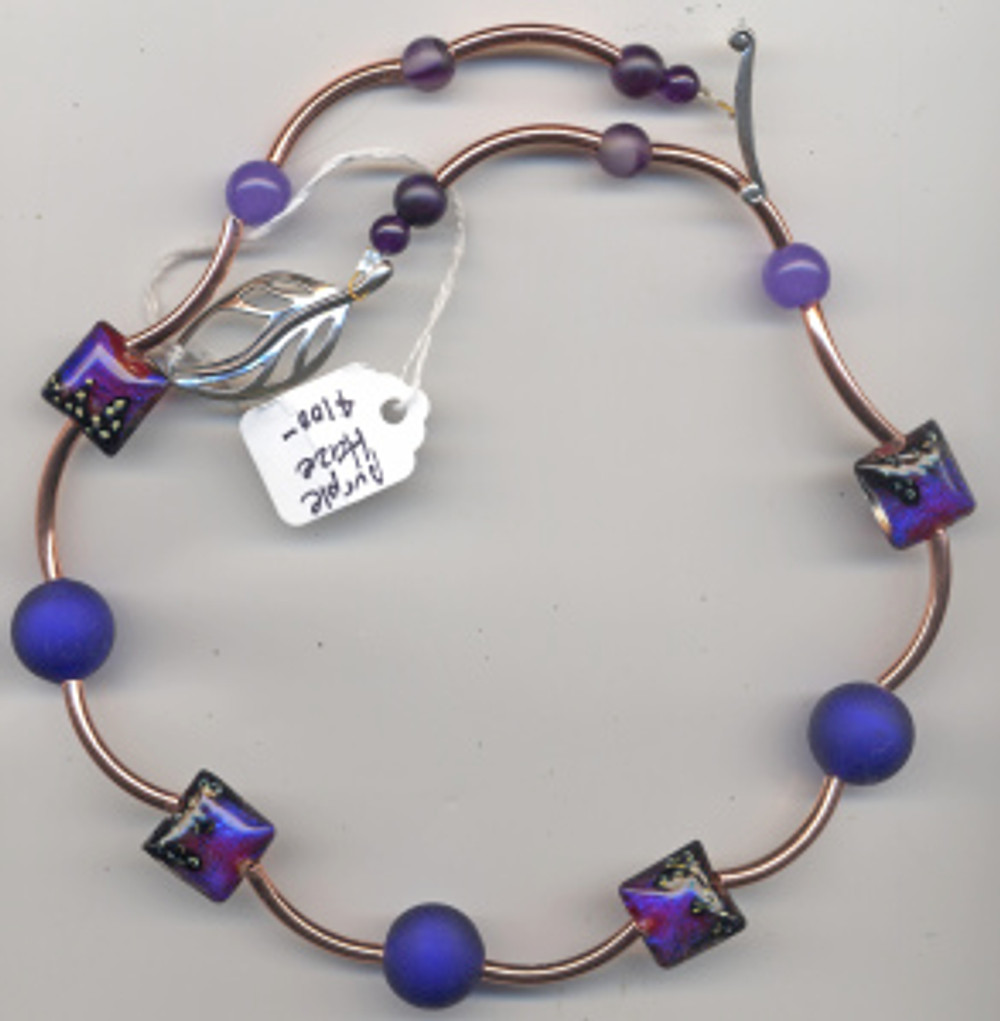 Purple Haze $100 Copper tubes, artisan glass, murano beads, sterling finding