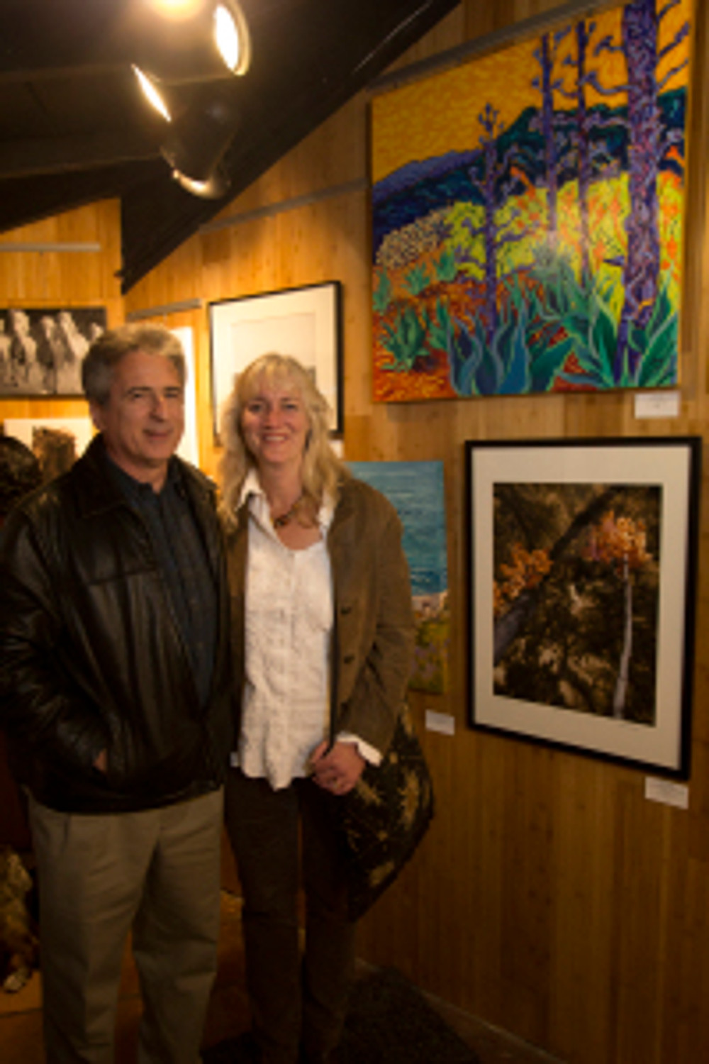 "Brian and I at Las Lagunas reception April 3 2014 standing in front of  my painting ""Cahuilla Totems"""