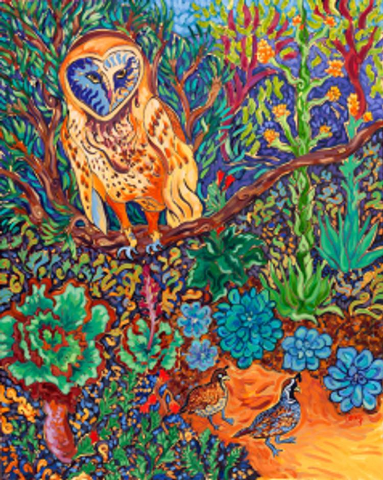 The Vegan Owl 24 x 30 oil by Cathy Carey
