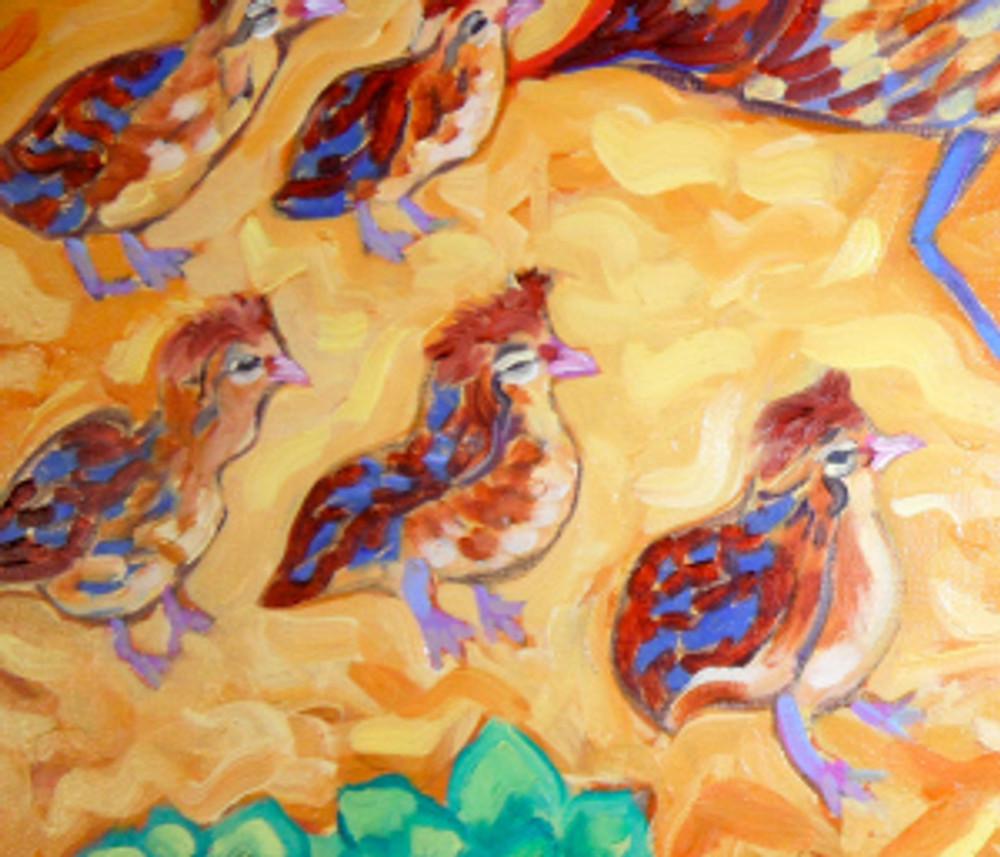 Quail Crossing by Cathy Carey ©2014 oil quail chicks