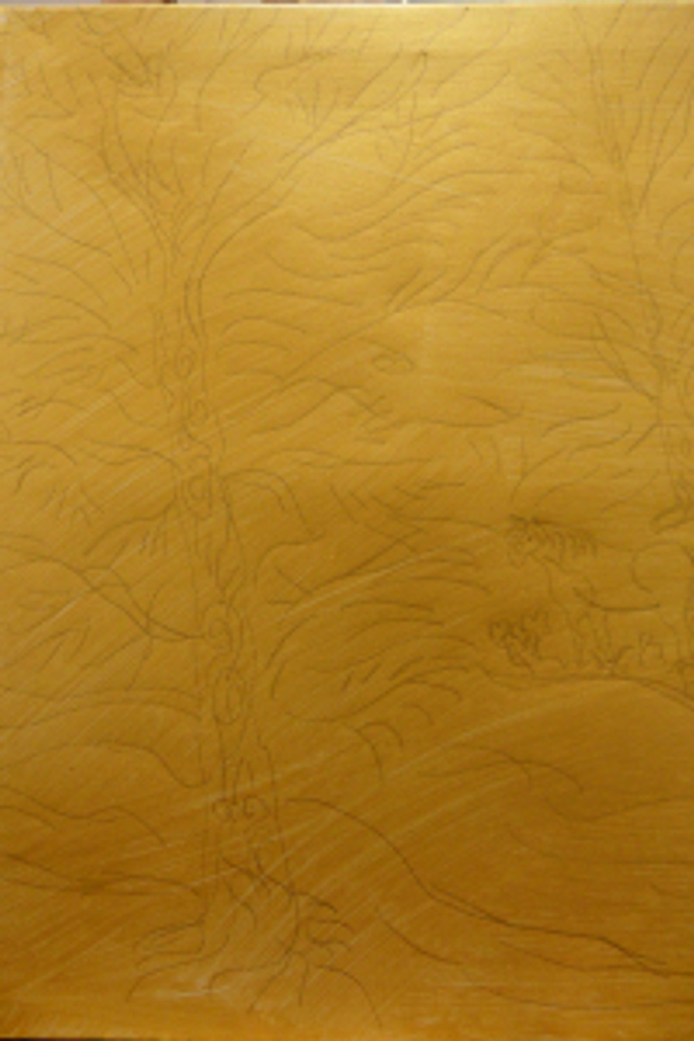 Pencil drawing on gold painted canvas