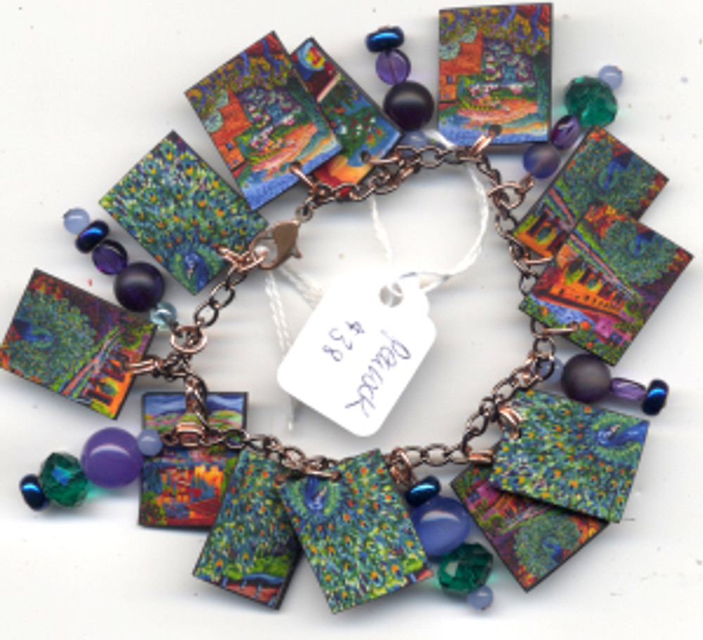 Peacock bracelet - $38 Fired pieces from my paintings