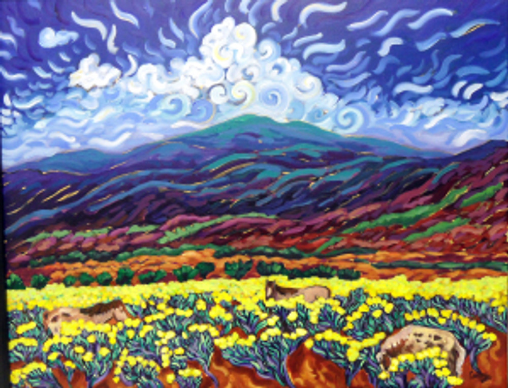 chamisa fields ©Cathy Carey 2013 oil painting