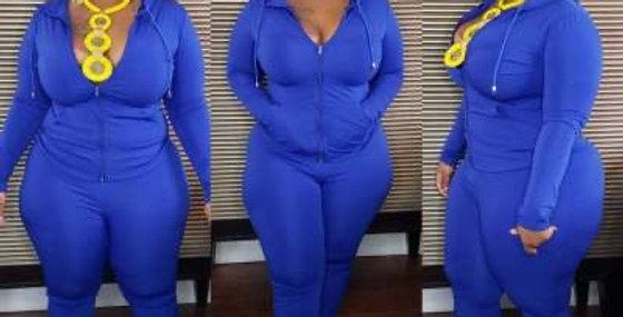 Blue Plus Size Track Suit