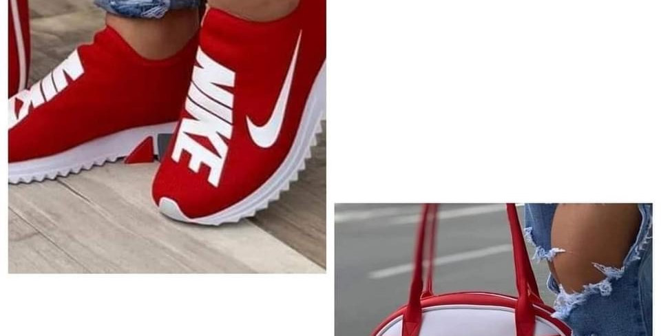 RED AND WHITE BAG AND SHOE SET
