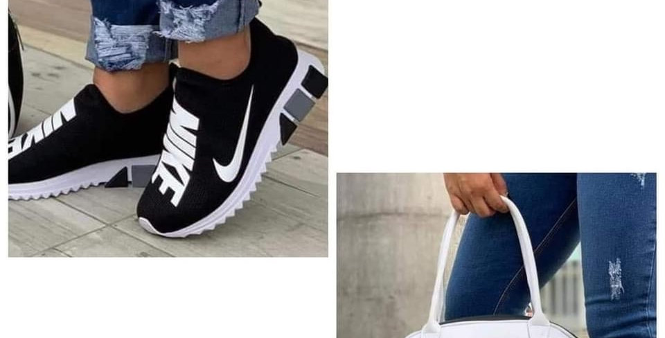 BLACK AND WHITE BAG AND SHOE SET