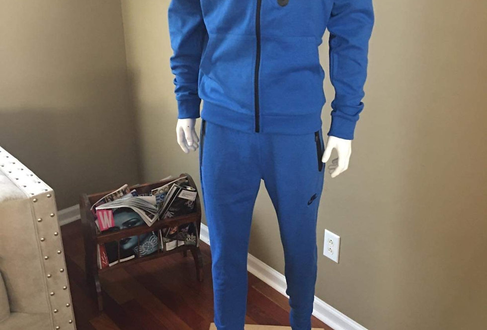 MEN BLUE TWO PIECE JOGGER WITH HOOD