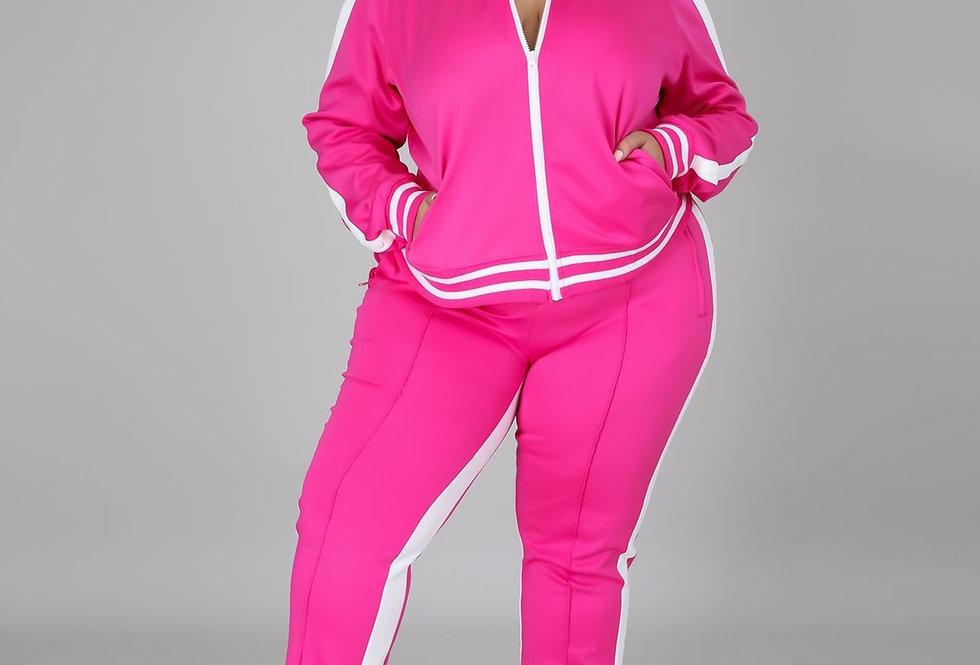Plus Size Pink Cold Shoulder Tracksuit