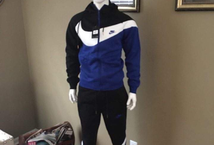 MEN TWO PIECE BLUE, WHITE, AND BLACK JOGGER WITH HOOD