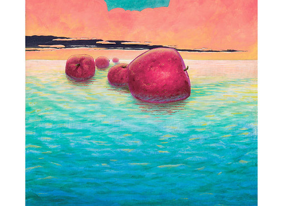 Five Red Apples - Giclée Print on Canvas