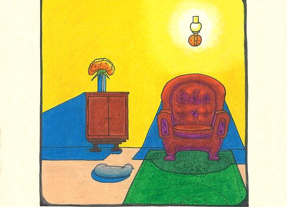 Cat + Chair - Giclée Print on Canvas