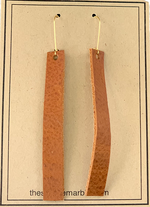 Brown Leather Drop Earrings by The Square Marble