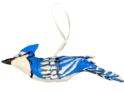 Paper Mache Blue Jay by Candy