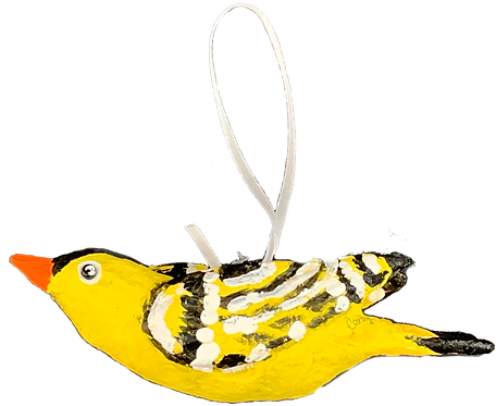 Paper Mache Goldfinch by Candy