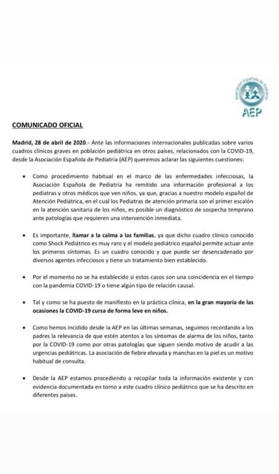 ⭕️ COMUNICADO OFICIAL #COVID19 Asociación Española de Pediatría ⚠️ Información para las familias