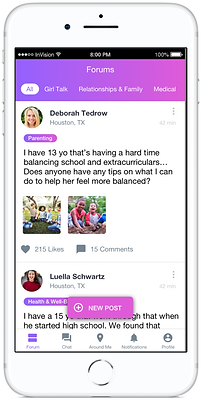 Phone screen showing open Forums on mobile app SocialMama