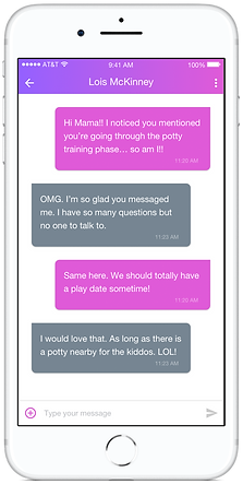 Phone screen showing one-on-one messaging screen on mobile app SocialMama